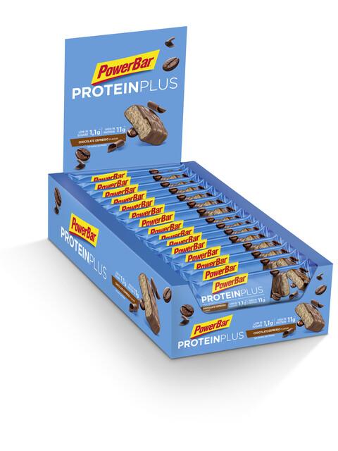 PowerBar ProteinPlus Low Sugar Riegel Box Chocolate Espresso 30 x 35g